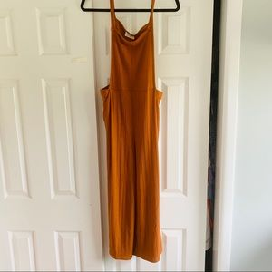 NEW Rust Wide Leg Cropped Overall Jumpsuit